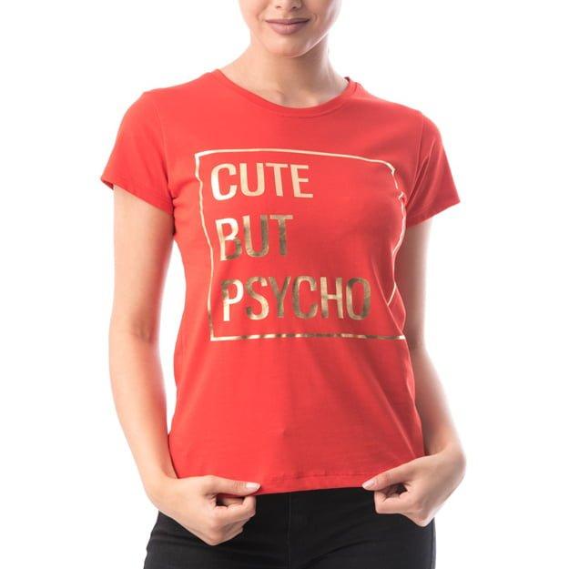 Tricou rosu din bumbac CUTE BUT PSYCHO